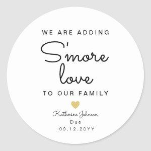 Adding S'more Love To Our Family Baby Shower favor Classic Round Sticker