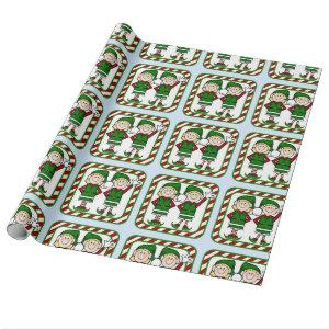Adorable Christmas Elves Wrapping Paper