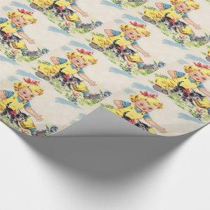 adorable little girl with adorable little kitten wrapping paper