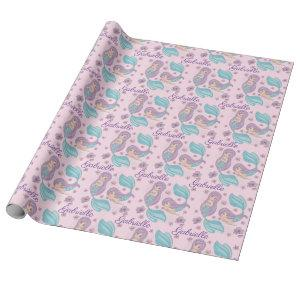 Adorable Mermaids Pink Turquoise Purple Wrapping Paper