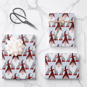 Adorable Red Black Gray Gnome Xmas Christmas Kids Wrapping Paper Sheets
