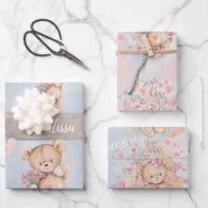 Adorable Watercolor Pink Teddy Bears and Flowers  Sheets