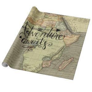 Adventure Awaits Old World Map Wrapping Paper