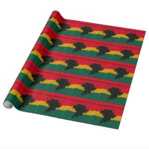 Africa Map Black Red Gold Green Jamaican Crochet Wrapping Paper