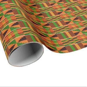 African Orange Classic Kente Wrapping Paper