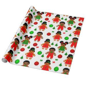 Afro Gingerbread Kids Christmas Cookie Wrapping Paper