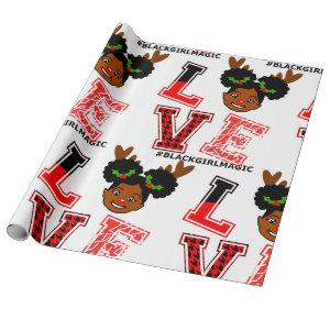 Afro Girl, Reindeer, Red Nose ,Christmas ,Black Wrapping Paper