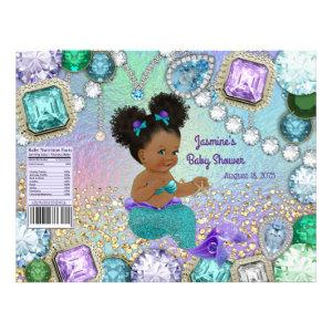 Afro Jewel Mermaid Baby Shower Chip Bag Wrappers