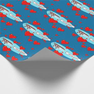 airplane caryying love message cartoon wrapping paper