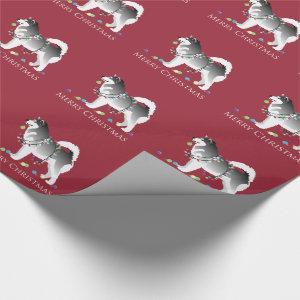 Alaskan Malamute Dog Merry Christmas Design Wrapping Paper