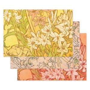 Alfonse Mucha Art Nouveau lily flowers Wrapping Paper Sheets