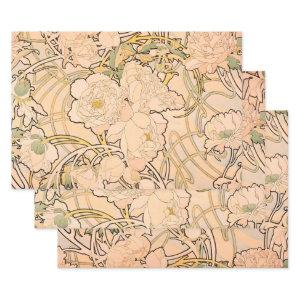 Alfonse Mucha Art Nouveau Peonies Wrapping Paper Sheets