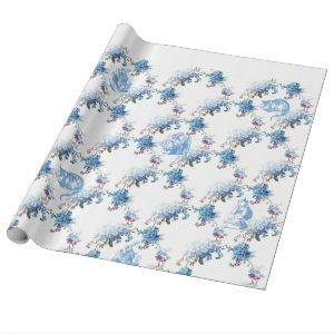 Alice in Wonderland Blue Floral Wrapping Paper