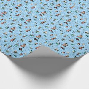 Alice in Wonderland in coral/turquoise and glitter Wrapping Paper