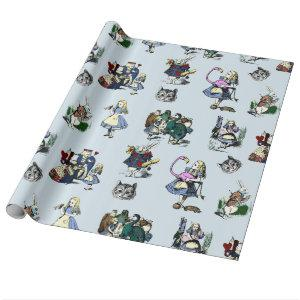 Alice in Wonderland White Rabbit & Red Queen Cat Wrapping Paper