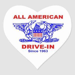 All American Hamburger Drive In HEART Heart Sticker