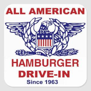 All American HAMBURGER Drive IN of Massapequa Square Sticker