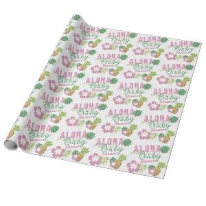 Aloha Baby Pink & Green Tropical Girl Baby Shower Wrapping Paper