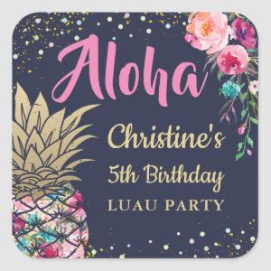 Aloha Tropical Pineapple Pink Floral Birthday Square Sticker