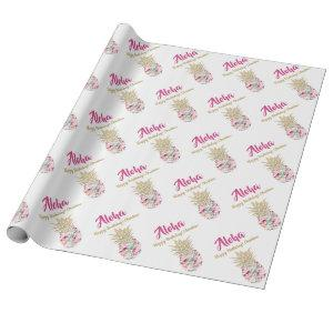 Aloha Tropical Pink Gold Pineapple Birthday Wrapping Paper