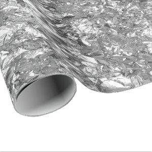 Aluminum Foil Silver Gray Metallic Wrinkled Wrapping Paper