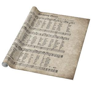 Amazing Grace Vintage Hymn Music Wrapping Paper