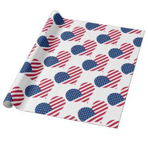 America flag American USA heart Wrapping Paper