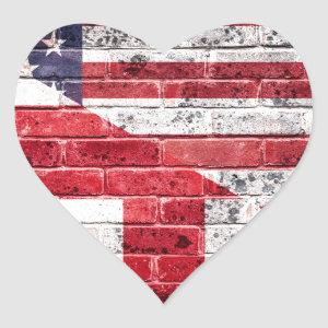 American and British flag. Heart Sticker