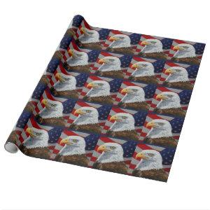 American Bald Eagle and Flag Wrapping Paper