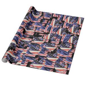 American Flag Collage Wrapping Paper
