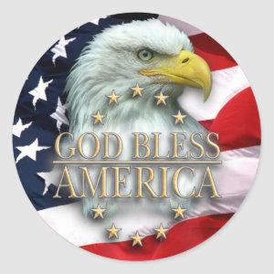 American Flag with Eagle, God Bless America! Classic Round Sticker