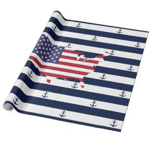 American map flag | nautical stripes pattern wrapping paper