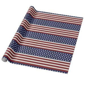 American USA Flag Patriotic July 4th Custom Wrapping Paper
