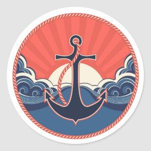 Anchor And Sea Wave Pattern Classic Round Sticker