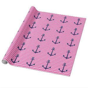 Anchor Chevron Nautical Pink and Navy Wrapping Paper