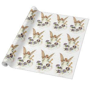 Angel With Cross And Clematis Flowers Wrapping Paper
