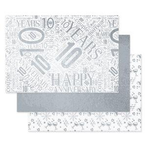 Anniversary 10 Years Word Cloud Silver ID267 Foil Wrapping Paper Sheets