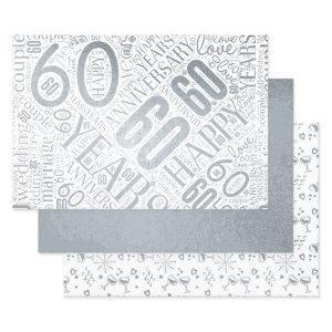 Anniversary 60 Years Word Cloud Silver ID267 Foil Wrapping Paper Sheets