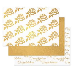 Anniversary Gold Foil Wrapping Paper-Rose 50th Foil Wrapping Paper Sheets
