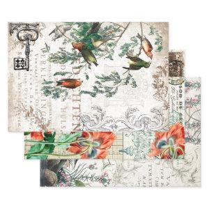 ANTIQUE BIRDS HEAVY WEIGHT DECOUPAGE PRINTS WRAPPING PAPER SHEETS