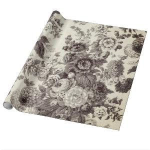 Antique Brown Tone Vintage Floral Toile Wrapping Paper
