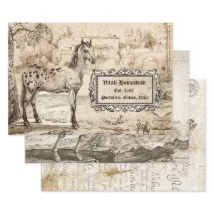 ANTIQUE EQUINE ART  HEAVY WEIGHT DECOUPAGE WRAPPING PAPER SHEETS