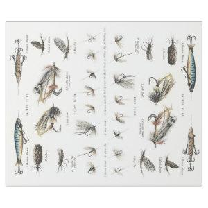 ANTIQUE FLY FISHING LURE COLLECTION DECOUPAGE WRAPPING PAPER