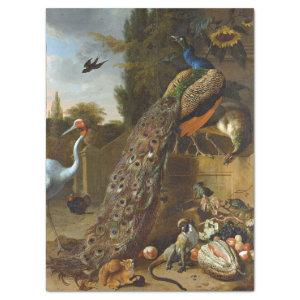 ANTIQUE FRENCH PEACOCKS PAINTING TISSUE PAPER