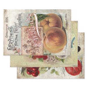 ANTIQUE FRUIT GROWERS DECOUPAGE PRINTS & WRAPPING PAPER SHEETS