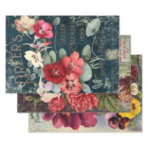 ANTIQUE GARDEN GUIDE HEAVY WEIGHT DECOUPAGE WRAPPING PAPER SHEETS