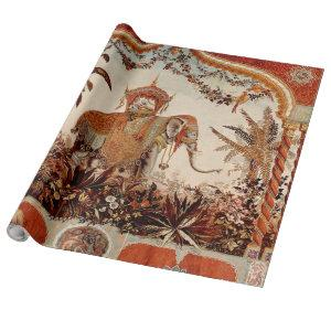 Antique Indian Elephant Tapestry Wrapping Paper