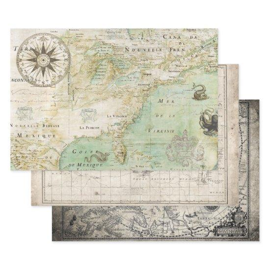 ANTIQUE MAP HEAVY WEIGHT DECOUPAGE