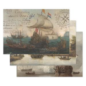 ANTIQUE NAUTICAL ART HEAVY WEIGHT DECOUPAGE PRINTS WRAPPING PAPER SHEETS