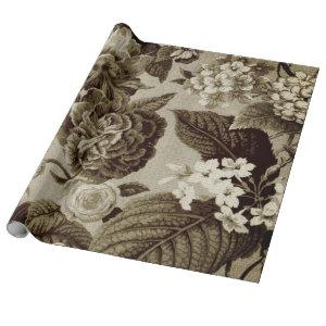 Antique Sepia Brown Vintage Botanical Floral Toile Wrapping Paper